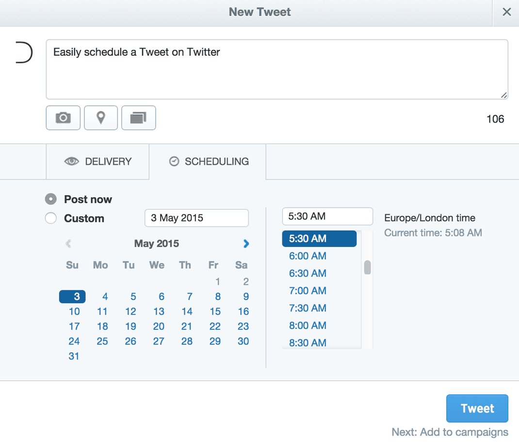 Schedule a Tweet on Twitter